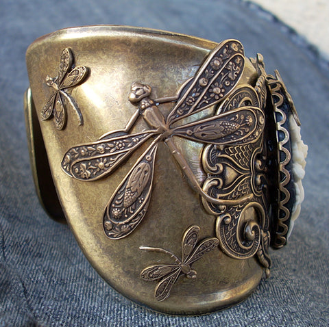 Dragonflies and Cameo Cuff Bracelet - Aranwen's Jewelry  - 2