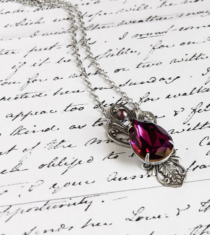 Victorian Black Crystal Drop Necklace - Aranwen's Jewelry  - 5