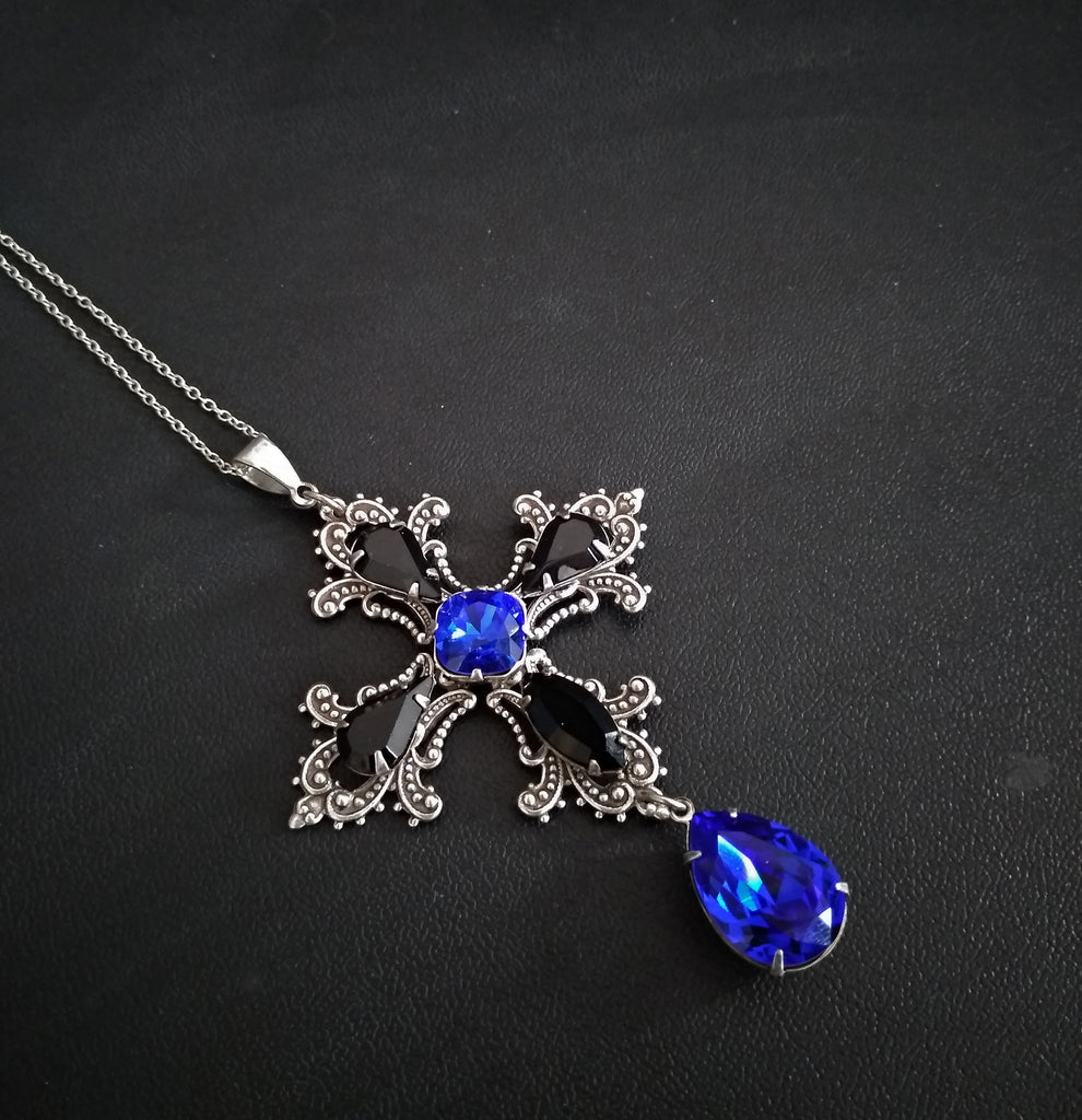 Gothic Cross Necklace with Blue and Black Swarovski Crystals