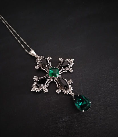 Gothic Cross Necklace with Green and Black Swarovski Crystals