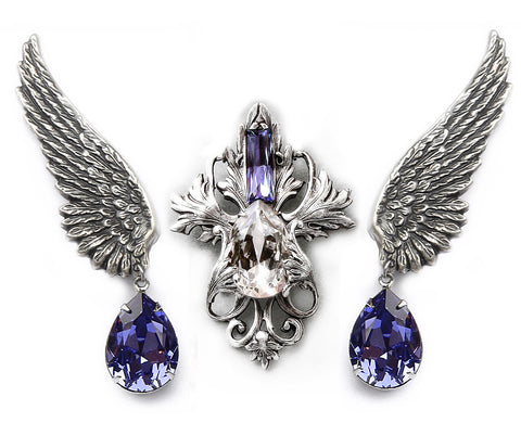 Tanzanite Swarovski Earrings and Necklace Set - Aranwen's Jewelry  - 5