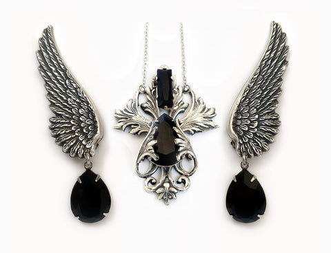 Jewelry Set of Black Swarovski Crystal Necklace and Wing Earrings - Aranwen's Jewelry  - 1
