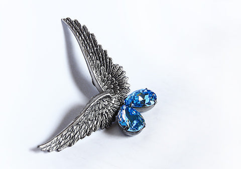 Silver Wings Earrings with Swarovski Drops - Aranwen's Jewelry  - 6