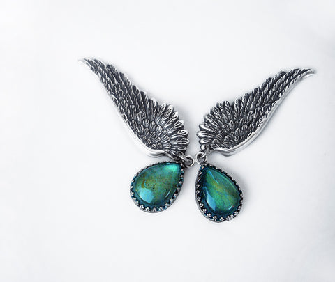 Labradorite Wing Earrings