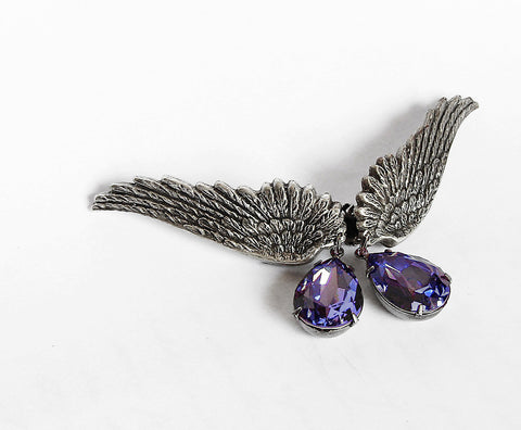 Silver Wings Earrings with Swarovski Drops - Aranwen's Jewelry  - 5
