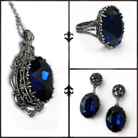 Dark Indigo Jewelry Set - Aranwen's Jewelry  - 1