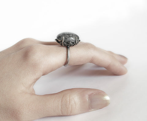 Black Rutile Ring - Aranwen's Jewelry  - 4