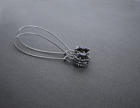 Long Wire Black Swarovski Earrings - Aranwen's Jewelry  - 1