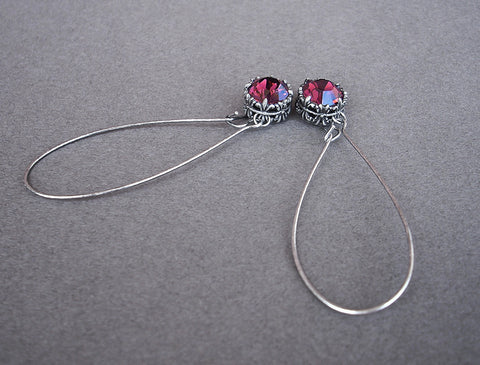 Long Wire Black Swarovski Earrings - Aranwen's Jewelry  - 2