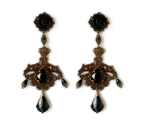 Dramatic Brass and Black Swarovski Earrings