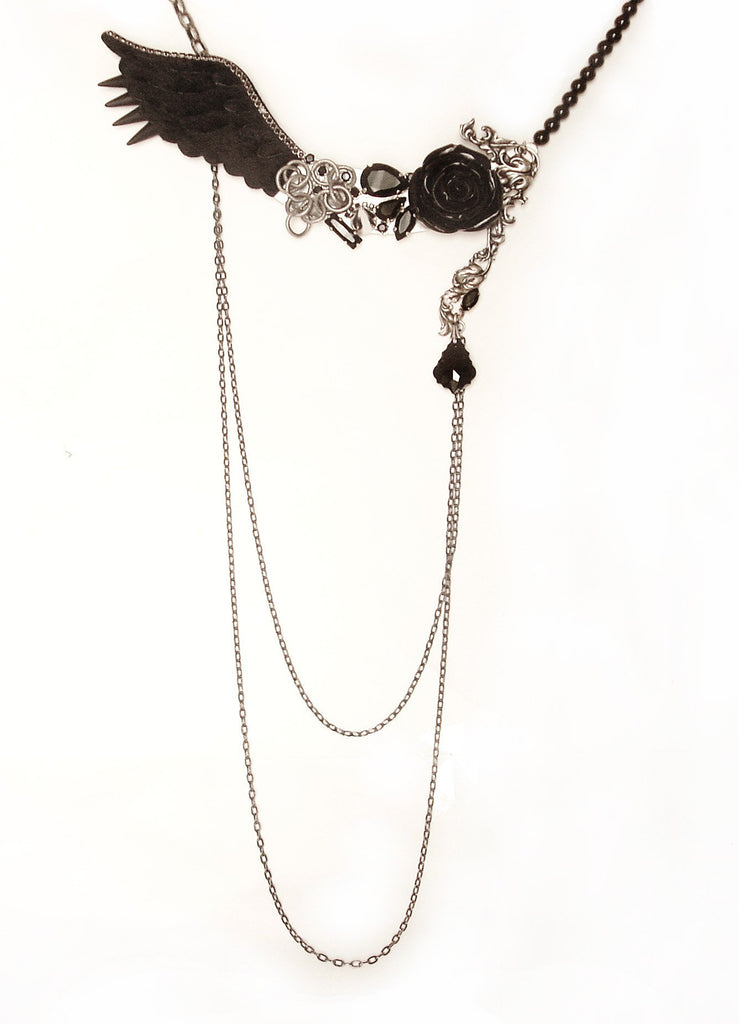 Asymmetric Black Wings Rose and Spikes necklace - Aranwen's Jewelry  - 1