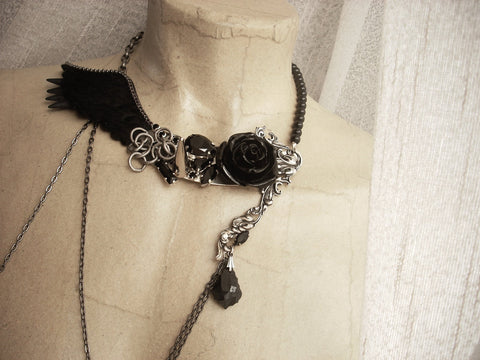 Asymmetric Black Wings Rose and Spikes necklace - Aranwen's Jewelry  - 2