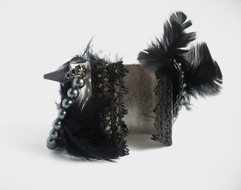 Black Feather Cuff Bracelet - Aranwen's Jewelry  - 3