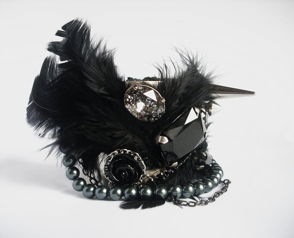 Black Feather Cuff Bracelet - Aranwen's Jewelry  - 1