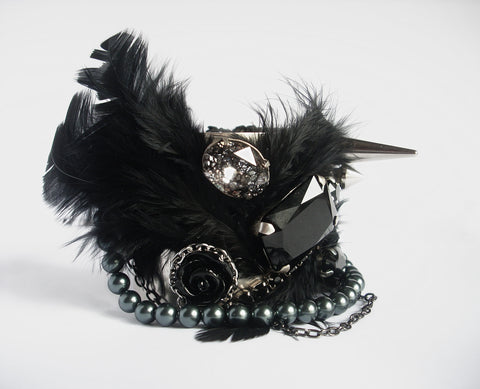 Black Feather Cuff Bracelet