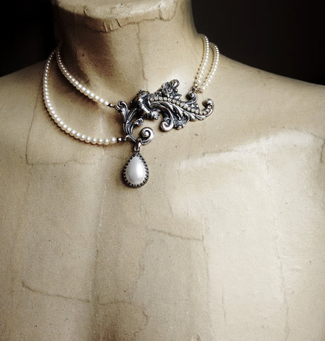 Bridal two strand pearl necklace - Aranwen's Jewelry  - 2