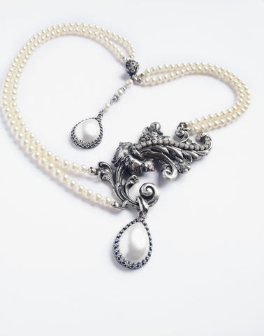 Bridal two strand pearl necklace - Aranwen's Jewelry  - 4