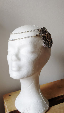 Pearl Bridal Hair Chain Great Gatsby Headpiece - Aranwen's Jewelry  - 3
