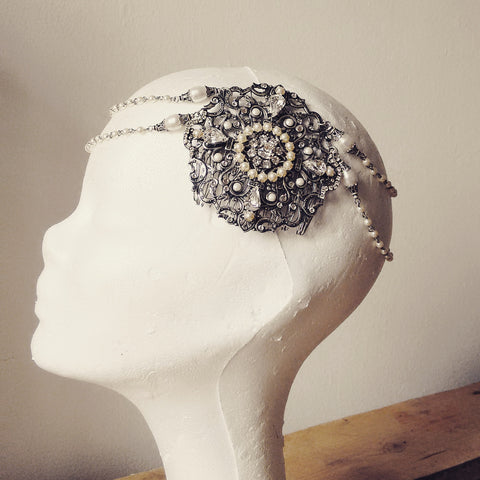 Pearl Bridal Hair Chain Great Gatsby Headpiece