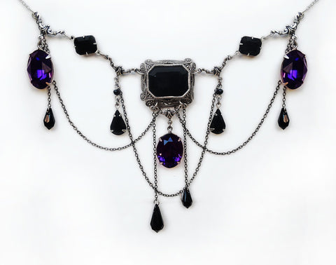 Black and Purple Gothic Necklace - Aranwen's Jewelry  - 2