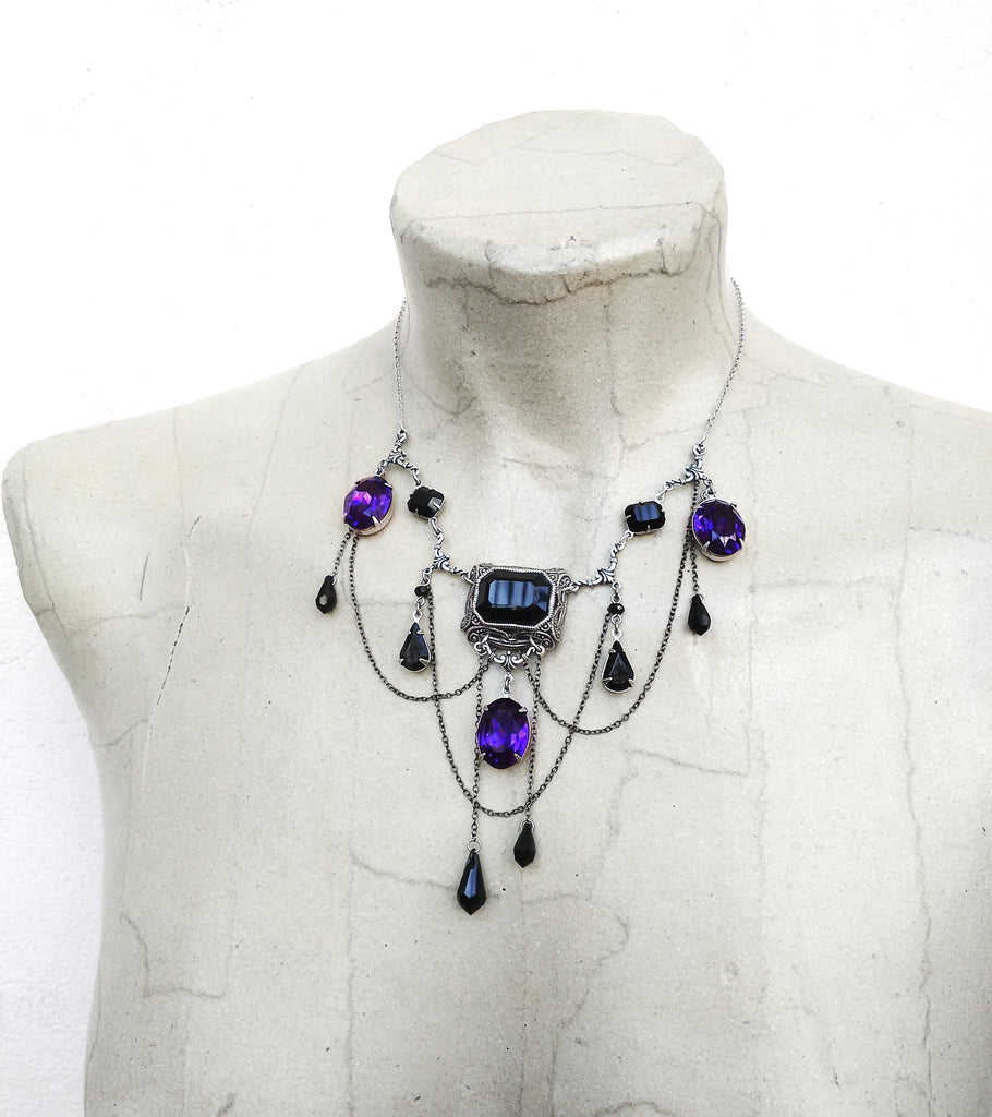 Black and Purple Gothic Necklace - Aranwen's Jewelry  - 1