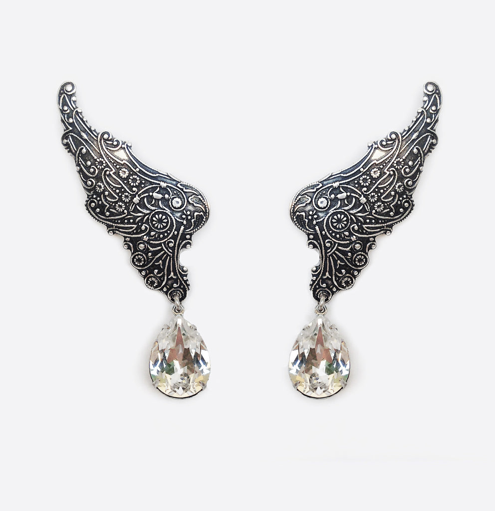 Fairy Wings ear climbers with Swarovski Crystal Drops - Aranwen's Jewelry  - 1