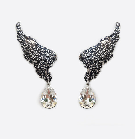 Fairy Wings ear climbers with Swarovski Crystal Drops