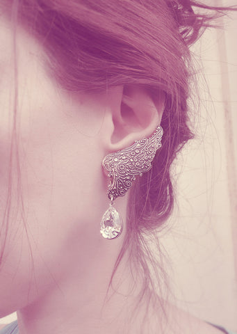 Fairy Wings ear climbers with Swarovski Crystal Drops - Aranwen's Jewelry  - 2