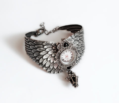 Silver Watch with Wings