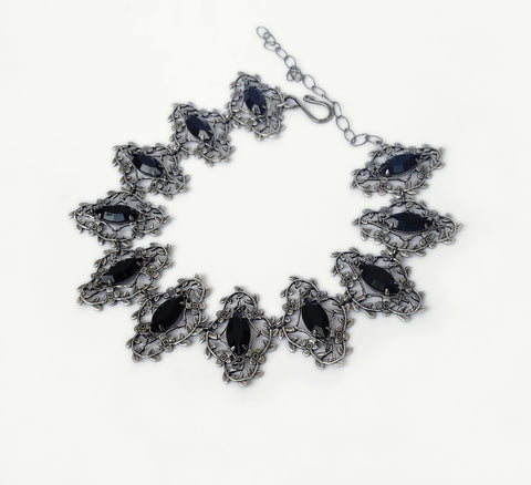 Silver Leaves Choker with Black Swarovski