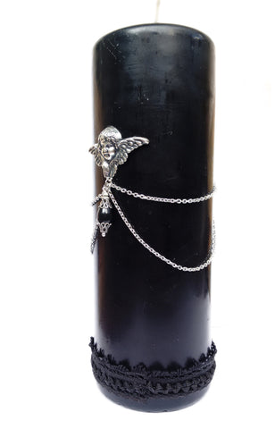 Black Gothic Candle - Aranwen's Jewelry  - 2