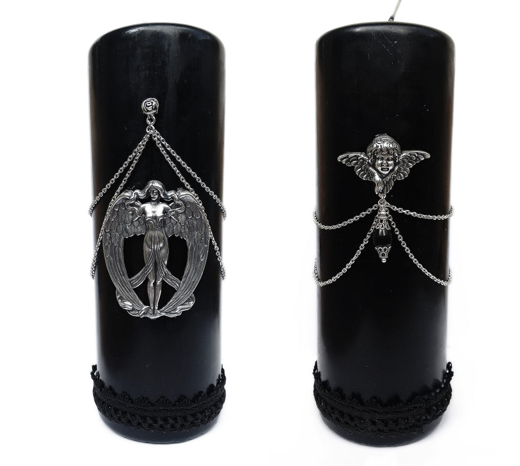 Black Gothic Candle - Aranwen's Jewelry  - 1