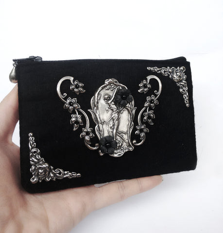 Black Felt Wallet - Aranwen's Jewelry  - 3