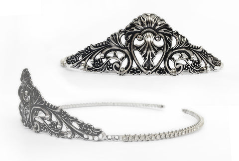 Silver Filigree Princess Tiara with Swarovski Crystals