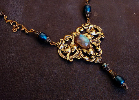 Labradorite and Antique Brass Necklace