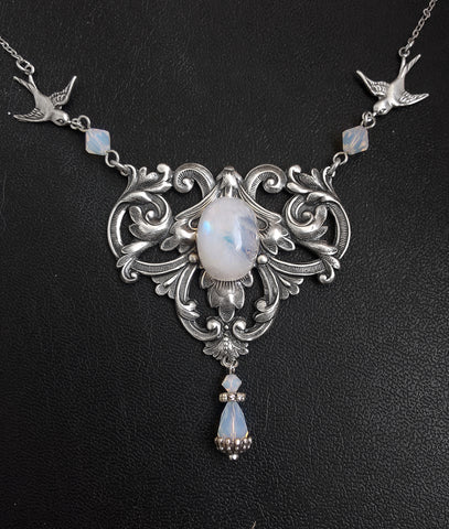 Moonstone Necklace with Opal Swarovski