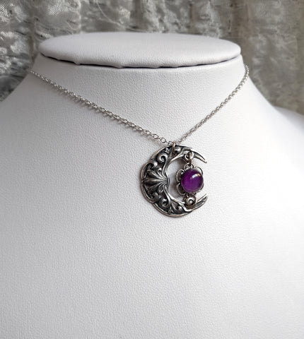 Small Crescent Necklace with Amethyst