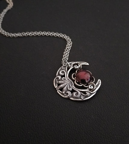 Small Crescent Necklace with Garnet
