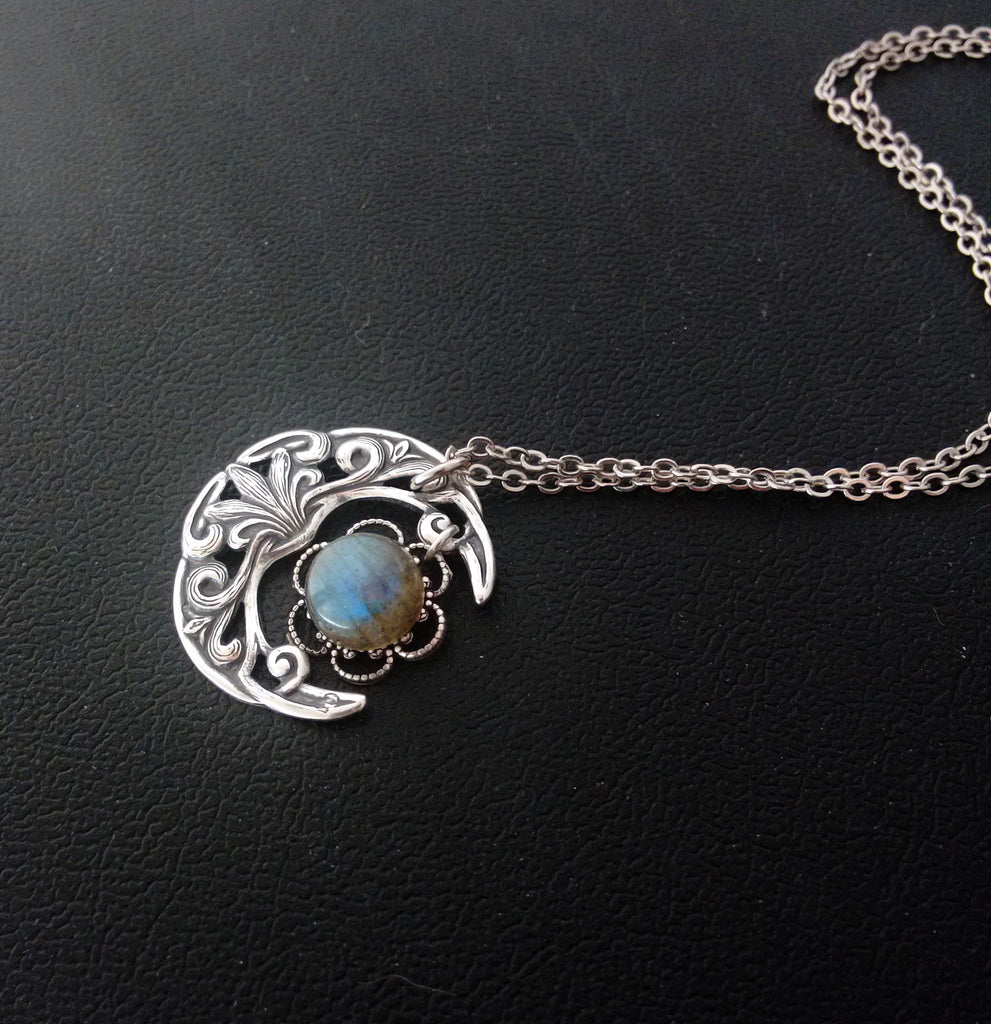 Small Crescent Necklace with Labradorite