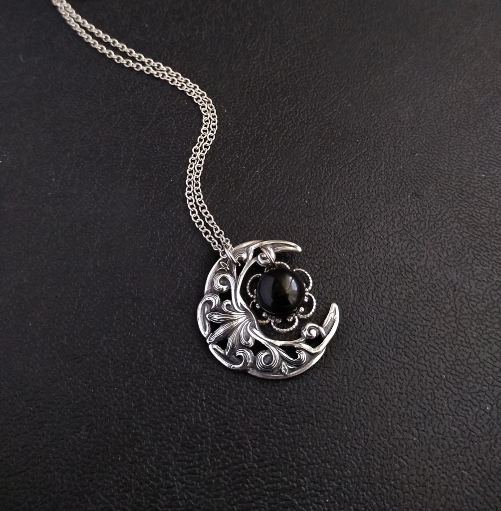 Small Crescent Necklace with Onyx