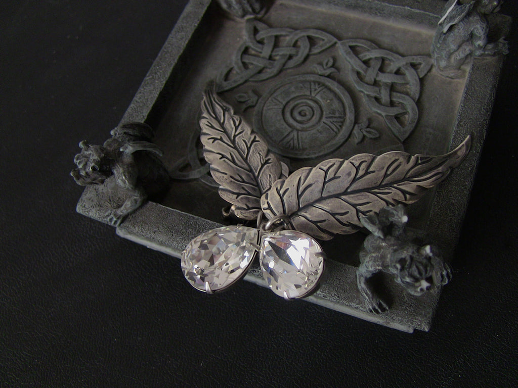 Silver Leaves Earrings with Swarovski Drops
