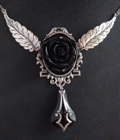 Large Black Rose Necklace