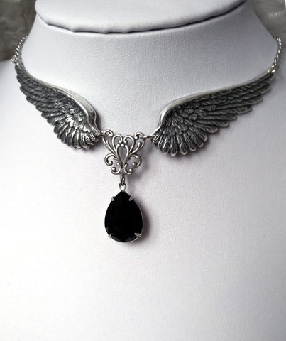 Silver Angel Wings Gothic Necklace