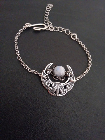Moonstone Crescent Bracelet or Anklet
