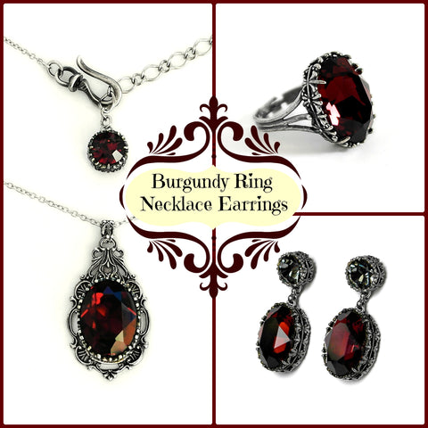 Burgundy Crystal Jewelry Set Earrings Necklace Ring - Aranwen's Jewelry  - 1