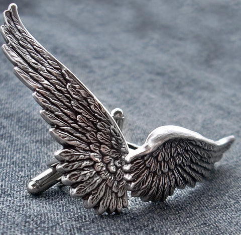 Silver Angel Wings Cufflinks - Aranwen's Jewelry  - 3