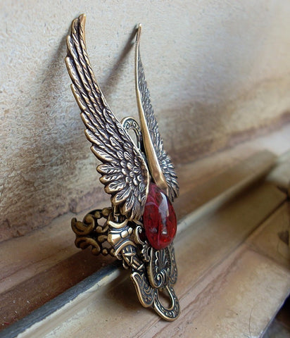 Brass Wings Ring with Red Glass - Aranwen's Jewelry  - 3