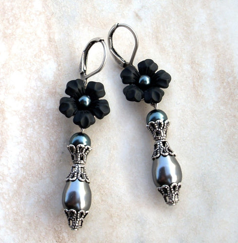 Black Pearl Earrings with Lucite Flowers - Aranwen's Jewelry  - 3