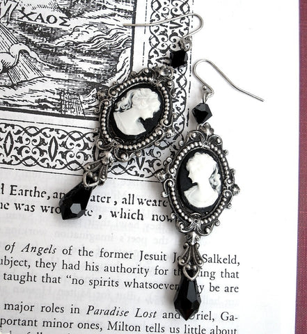Black Cameo Earrings - Aranwen's Jewelry  - 4