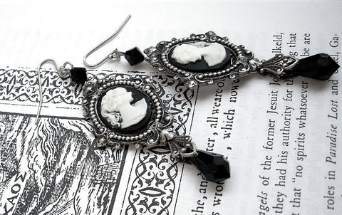 Black Cameo Earrings - Aranwen's Jewelry  - 5